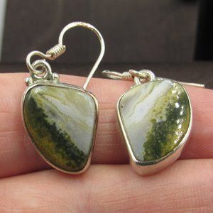 Sterling Silver Unique Two Color Stone Earrings